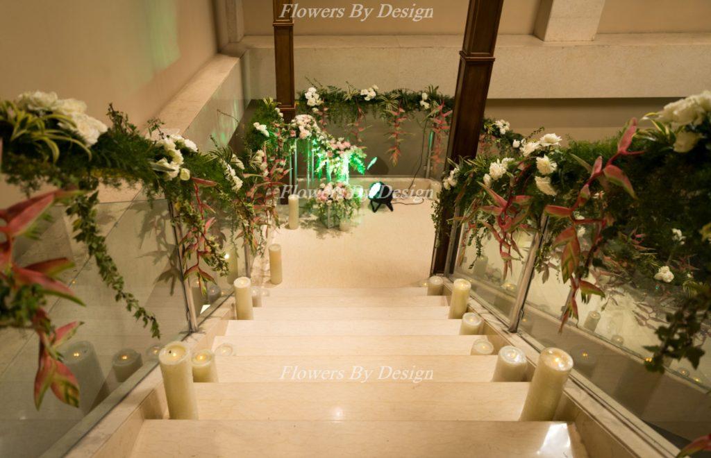 Indoor Steps Wedding Flower Decoration
