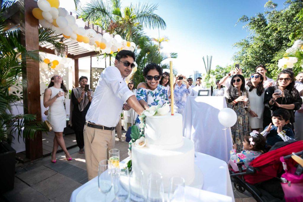 Couple Cake Cutting - Wedding Backdrop Decoration