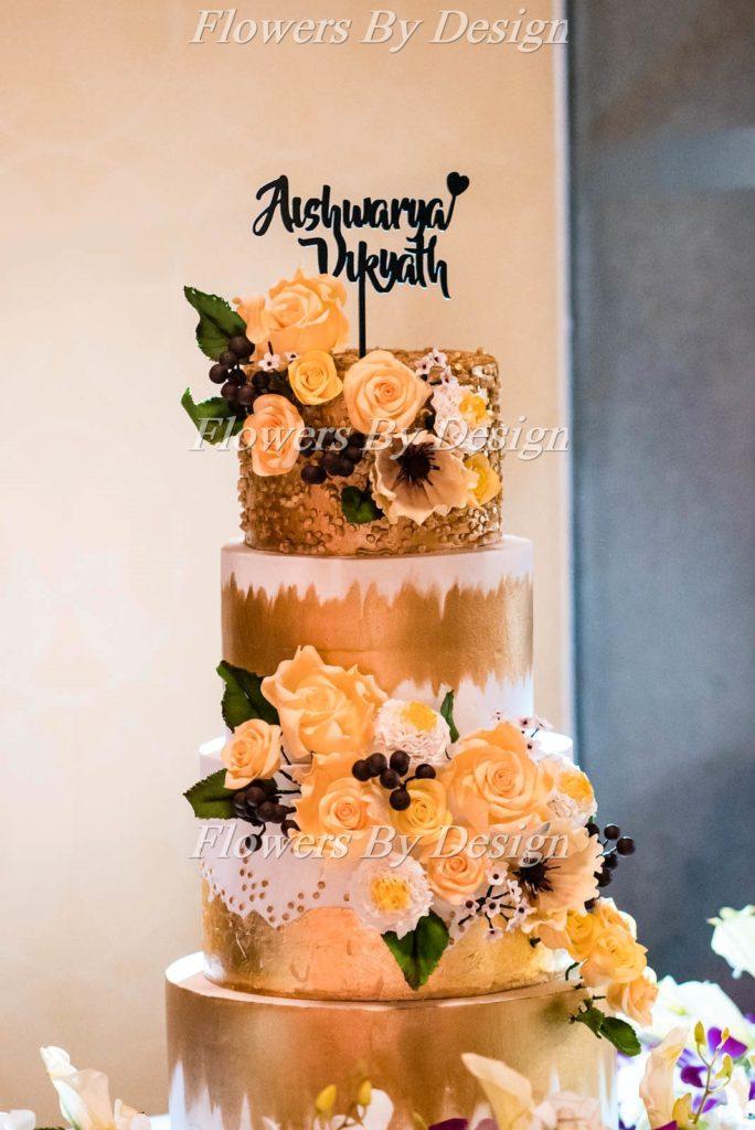 yellow and white rose cake - Wedding Backdrop Decoration