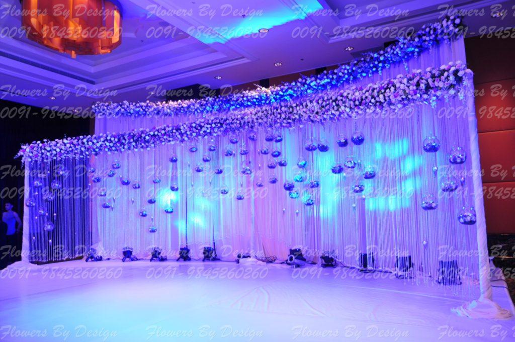 Blue Lighting Wedding Flower Decoration Bangalore