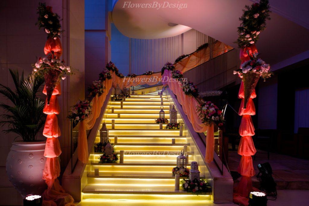 Yellow Lights And Staircase Lighting For Wedding