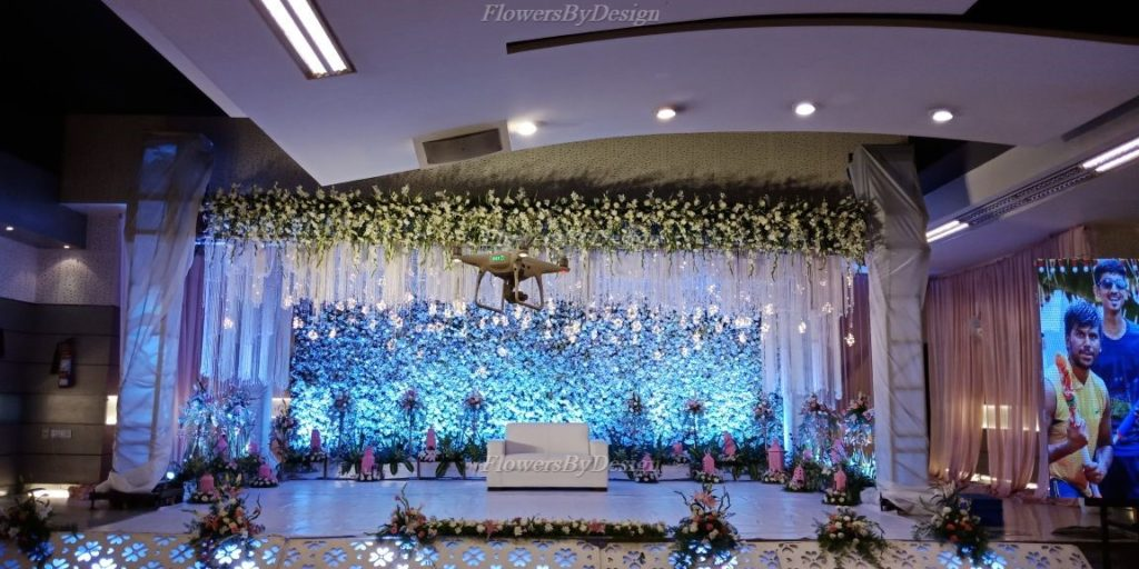 Blue Lighting Flower Decoration In Marriage