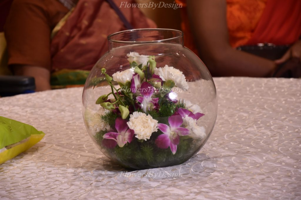 Glass Flower Decoration In Marriage