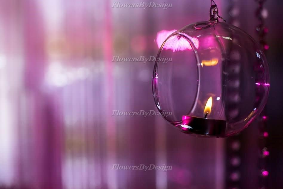 Pink Glass Candle Light - Wedding Flower Decoration