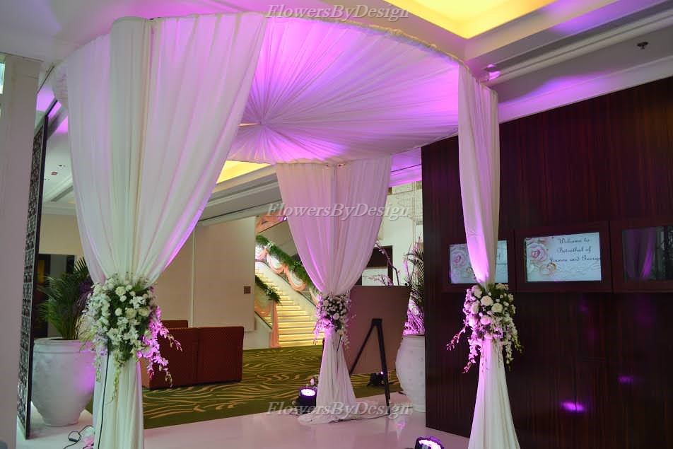 white and Pink theme wedding Decoration in Bangalore