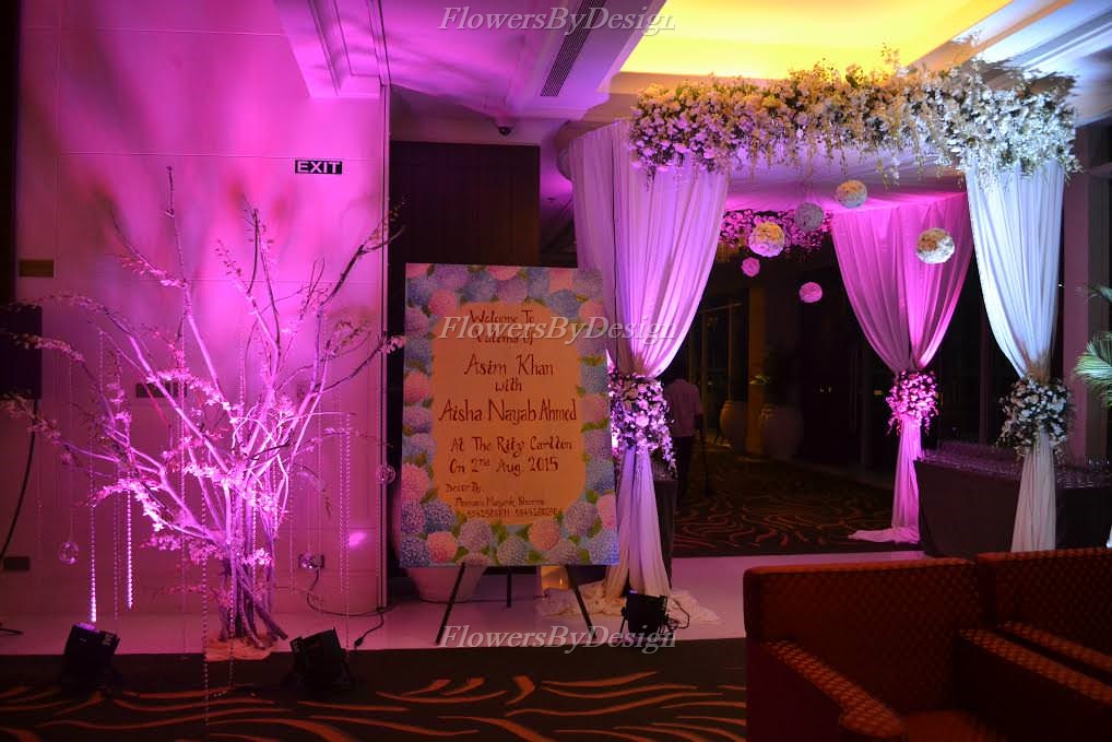 Name Board and Pink Light Theme For Wedding - Flowers By Design Bangalore