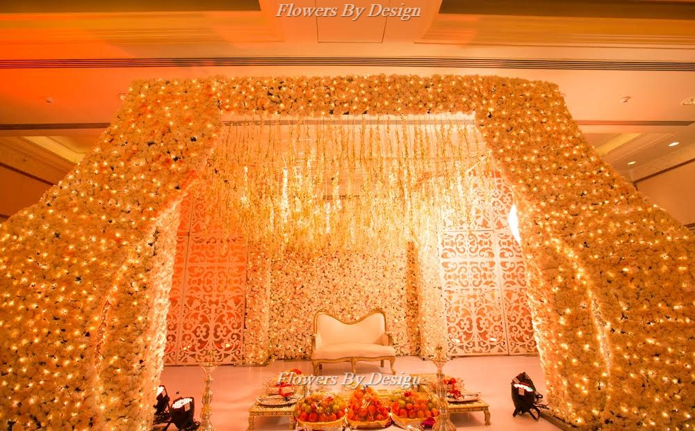 Yellow flower Decoration for Backdrops in Bangalore