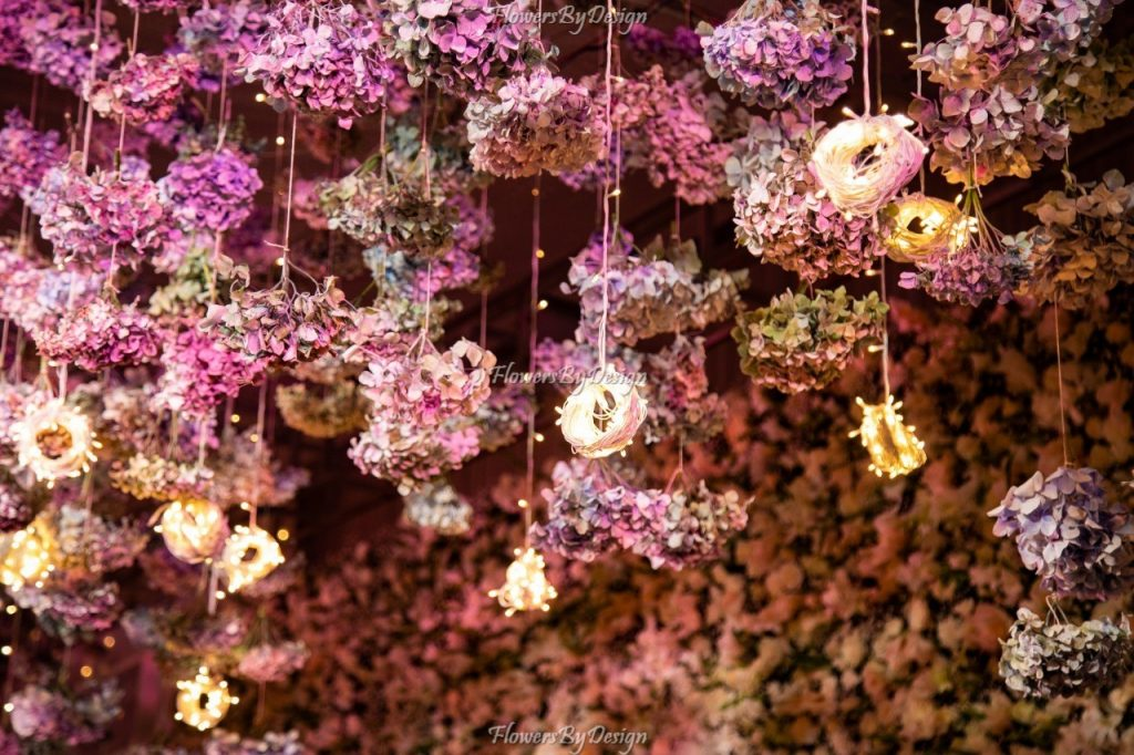 Hanging flower and light Decoration For Wedding - Flowers By Design
