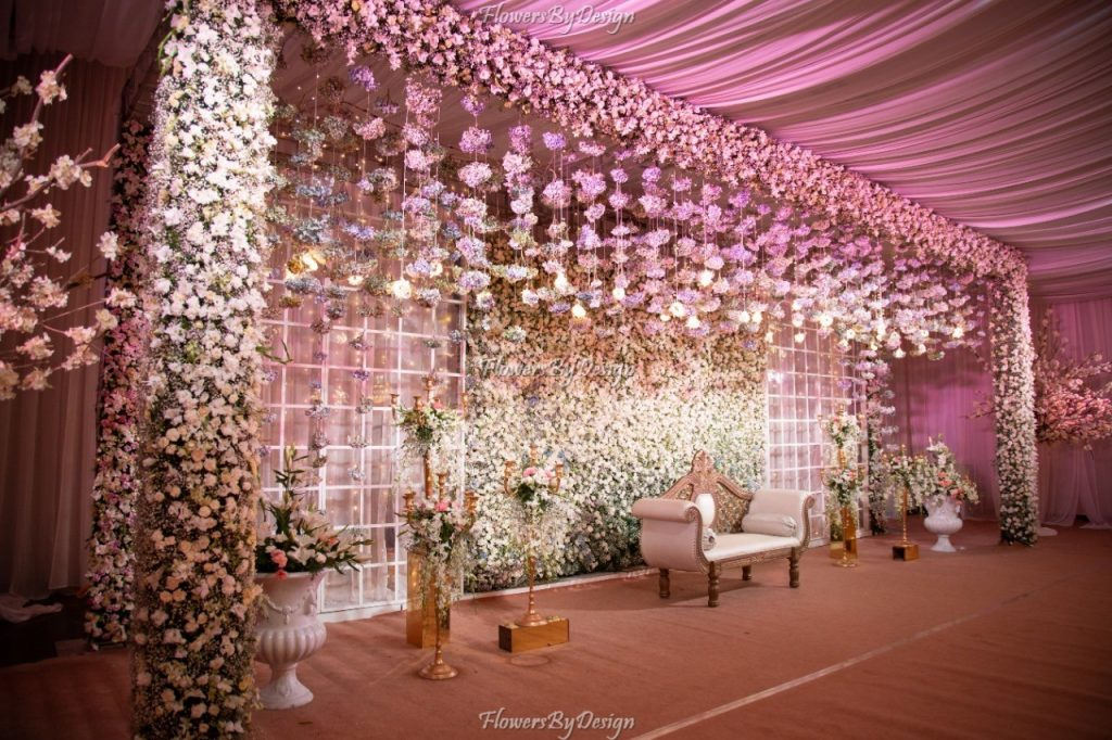 white Stage Flower and Backdrop Decoration