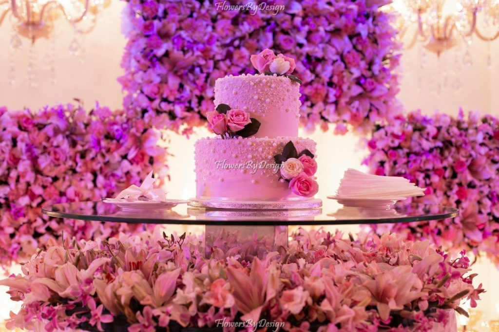 Pink Cake and Flower Decoration for wedding in Bangalore